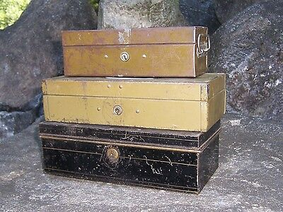 Lot of 3 Antique Tin Metal Vintage Cash Bank Lock Box Document Old Chest No Key
