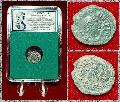 Ancient Roman Empire Coin Of THEODOSIUS Victory Dragging Captive By Hair