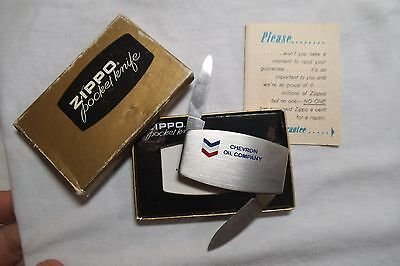 Vintage CHEVRON OIL Company ZIPPO 2-Blade Pocket knife w/Original Box  1970's