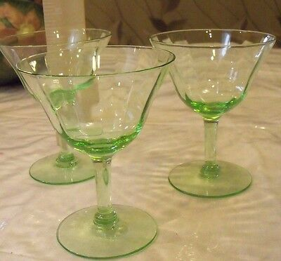 3 Perfect tall sherbets Champagne Vaseline Uranium Depression Glass Optic panels