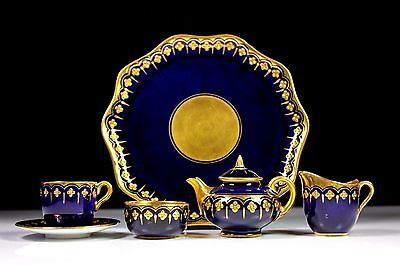 Antique Rare Coalport Miniature Jewelled Cobalt Blue Tea Service Pattern 5926
