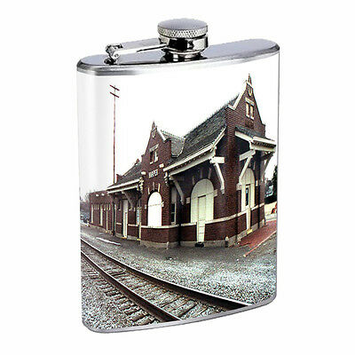 Vintage Train Stations D9 Flask 8oz Stainless Steel Hip Drinking Whiskey Retro