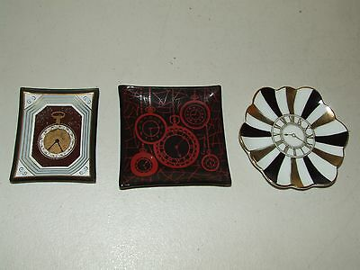 Antique Lot of 3 Clock Horology Watch Advertising Porcelain Trinket Dish Trays