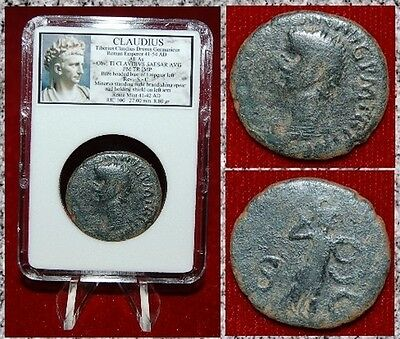 Ancient Roman Empire CLAUDIUS MInerva Holding Spear and Shield On Reverse