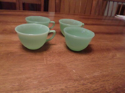 SET 0F 4  Vintage Fire King Jadeite ~ Jane Ray Pattern ~ Coffee Cups ~ Ribbed ~