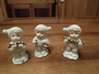 Home Interior Homco Set Of 3 Joyfull Babbies And Friends With Stars #5702