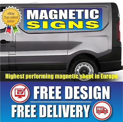 2 x MAGNETIC VAN CAR VEHICLE SIGNS SIGN PRINTED FULL COLOUR  CUSTOM FREE DESIGN
