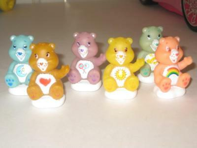 "Tcfc Care Bear Lot Of 6 Bears 1.75"" Sitting On Clouds Plastic Cake Decoration"