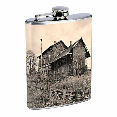 Vintage Train Stations D15 Flask 8oz Stainless Steel Hip Drinking Whiskey Retro