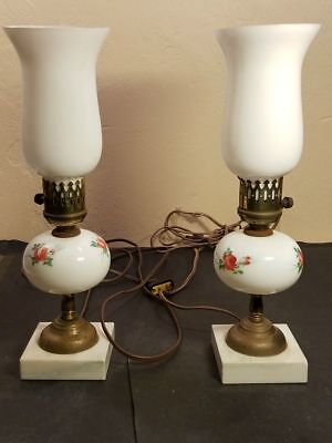 2 Marble Brass White Glass Vintage Electric Table Lamps