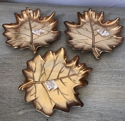 Set of 3 Martha Stewart Collection Harvest Glass Leaf Plates NEW