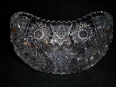 "Antique ABP CUT GLASS oval scallop BOWL 7"" hobstar & fan deeply cut very clear"