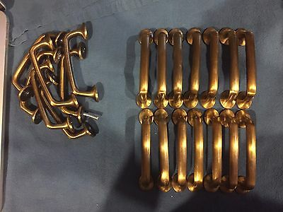 Set of 21 Total Brass Finish Pottery Barn Cabinet / Drawer Pulls