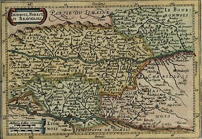 Lyon Lionnois France c.1628 Mercator minor old map detailed hand colored