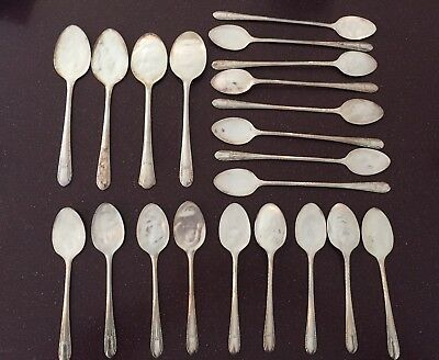 Vintage Antique Silverplate 21 FLAT Spoons Flatware Silverware Plated Craft Lot