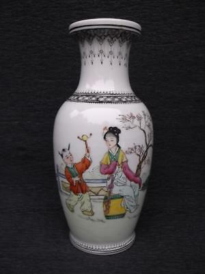 843 / Vintage Chinese Porcelain Vase With Hand Painted Scene , Seal Mark To Base