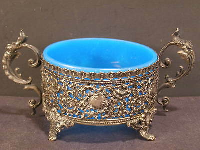 19c Portieux Vallerysthal Hallmarked Silver French Opaline Glass Candy Dish Bowl