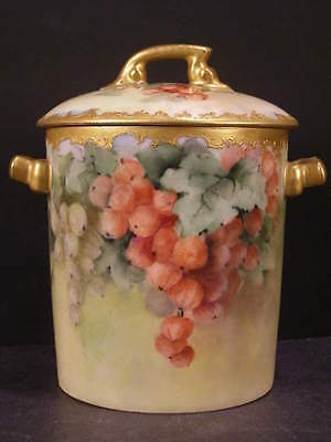 19 c French T&V Limoges Hand Painted Porcelain Jam Jelly Marmalade Condiment Jar
