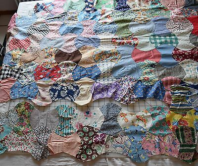 Large piece 1940's Apple Core quilt top, wonderful prints, juveniles, feed sacks