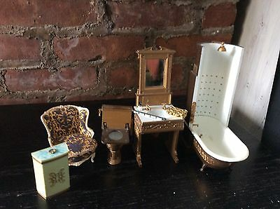 Dollhouse Miniature Victorian Bathroom Set-1/12 scale Lot 5 ++. Many extras