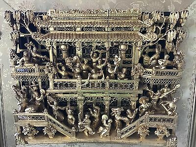 Chinese Hand Carved Panel Qing Dynasty, Matrimonial Scene NEW PRICE!!!!