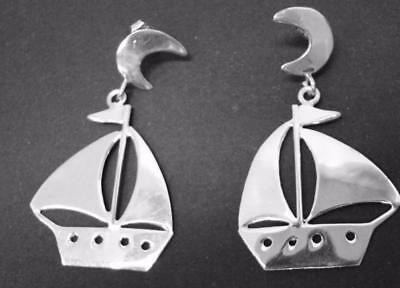 "925 Sterling Silver Earrings Anne Harvey Moon Sailboat Dangle 1.80"" X 1"" Mexico"