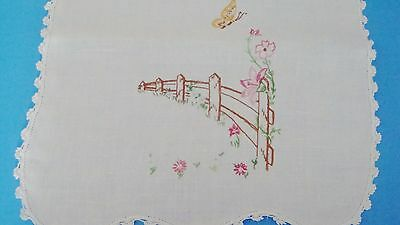 """Hand Embroidered table runner white w/pastel flowers by a brown fence 37""""x17"""""""