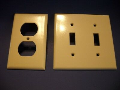 1 Smooth IVORY Duplex OUTLET Wall Plate Cover & 1- 2 Gang Toggle SWITCH Cover