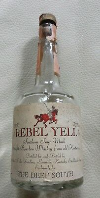 Vintage 1960s Rebel Yell Sour Mash Whiskey 1/2 pint bottle w/ Florida tax stamp