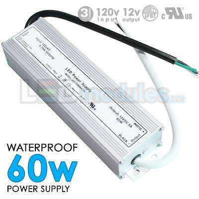 LED-Factory -12V -60W -5A -Waterproof Outdoor Power Supply, Adapter -DC -UL