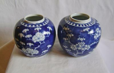 Two Antique Chinese Porcelain Vases Prunus Pattern C19th Circle Marks slight a/f