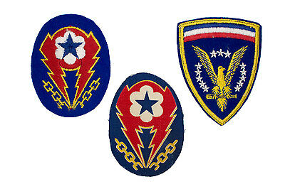 English Made WWII U.S. Army ETO Advanced Base Shoulder Insignia Patch Group