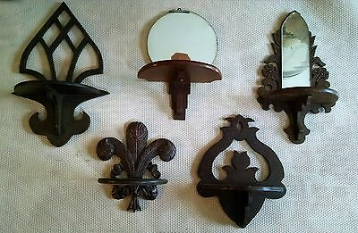 Lot of 5 (1930's) Vintage Rockford Scroll Co. Sconce's (2 w/mirrors)