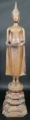 "Antique Bronze Thai Buddha Standing Statue 18 1/2"" Tall"