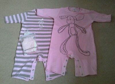2 Next baby girl pink romper suits up to 3 months & BNWT scratch mittens