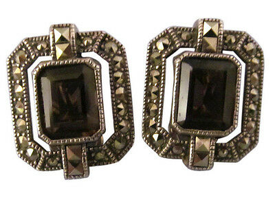 Judith Jack Sterling Silver Clip Earrings Topaz Marcasite Designer Jewelry 855e
