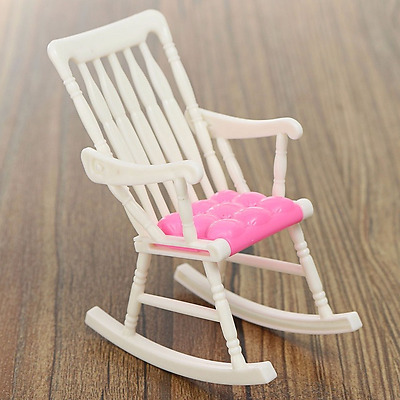 Dollhouse Accessories Miniature Rocking Chair Dollhouse Furniture White Pink New