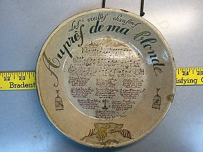 Old French Montmarte musical decorated charger.