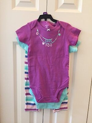 New With Tags NWT Carter's Baby Girl 3 Piece Set Size 24 Months