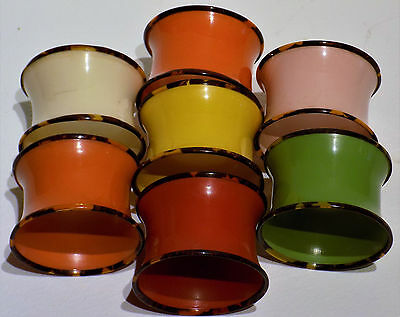 7 Pure Art Deco Early Plastic Napkin Rings In 6 Different Typical Deco Colours