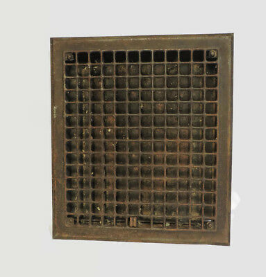 Vintage 1920S Iron Heating Grate Square Design 14 X 10.75 E