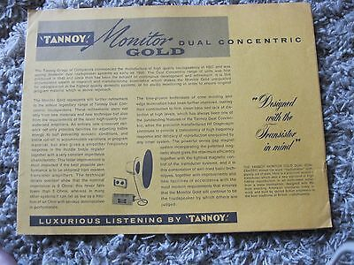 vintage Tannoy monitor gold dual concentric brochure