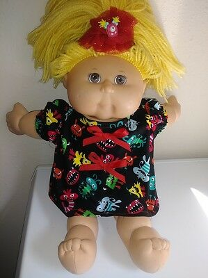 "Monster Print Dress, Panties and Headband for 16""  Cabbage Patch Doll"