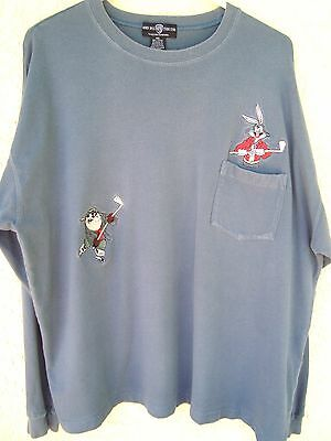 Vintage Blue BUGS & TAZ Playing Hockey Embroidered L/S Pocket T-Shirt -  XXL