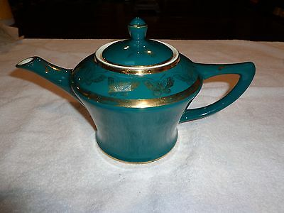 Hard To Find Vintage Hall Cleveland Teapot Turquoise With Standard Gold! Exc.!!!
