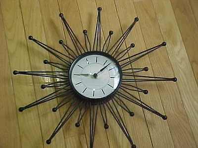 Sterling and Noble Starburst Sunburst Mid Century style wall clock Atomic Retro
