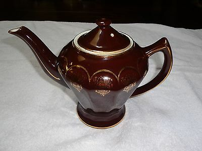 Vintage Hall Albany Teapot Mahogany With Standard Gold Decoration Minty!!! Look!