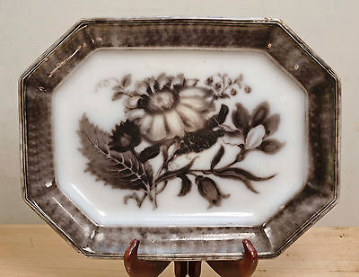 "Antique black mulberry yellow T Walker Flora ironstone transferware platter 15""+"