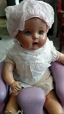 Vintage Large Chubby Compo Baby Doll Sleep Tin Eyes- Adorable Project needs TLC