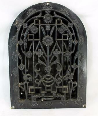 Antique Cast Iron Arch Top Dome Heat Grate Wall Register Floral Star